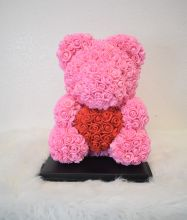 M- Pink Red Heart Rose Bear