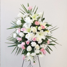 Funeral Spray – White & Pink Flowers