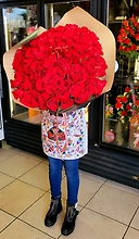 100 Premium Red Roses Bouquet