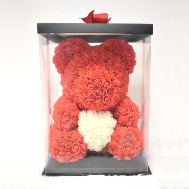 M-Red White Heart Rose Bear