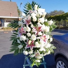 Funeral Spray – White Roses & Pink Lilies