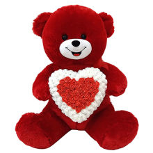 "39"" Red Bear With Rose Heart"
