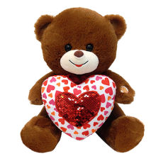 "12"" Dark Brown Bear With Heart"