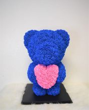 Standing Blue Rose Bear