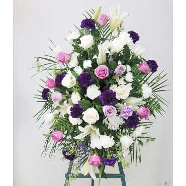 Funeral Spray – Purple & White Flowers