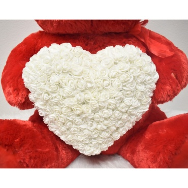 "35"" Red White Heart Rose Teddy Bear"