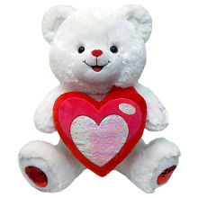 "28"" White Bear With Sequin Heart"