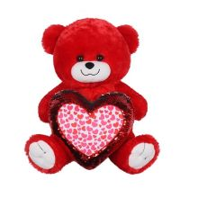 "14"" Red Bear With Heart"