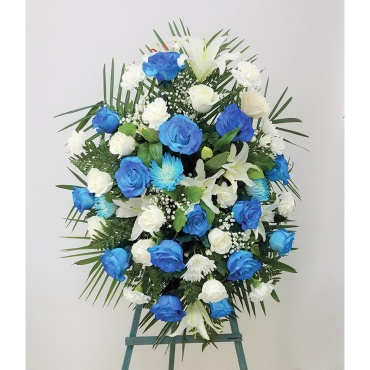 Funeral Spray – Blue & White Flowers