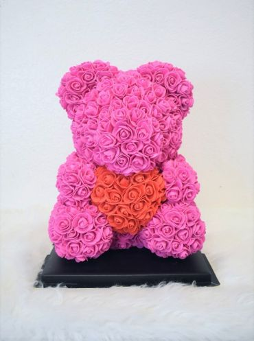 M-Hot Pink Red Heart Rose Bear