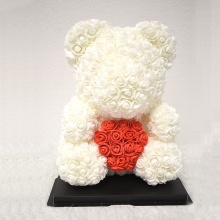 M-White Red Heart Rose Bear