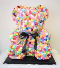 Jumbo Rainbow Rose Bear